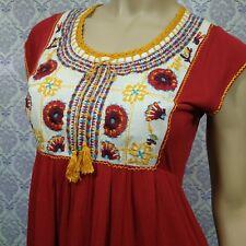 Indiska Boho Embroidered Peasant Top Womens S Viscose Cap Sleeve Hi Lo Babydoll