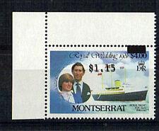 MONTSERRAT 1981 ROYAL WEDDING $4 $1.15 DOUBLE PRINTED MNH