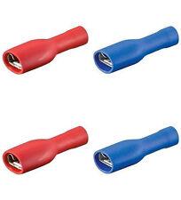 40 Flachsteckhülsen rot/blau, 6,3 voll isoliert f. Kfz