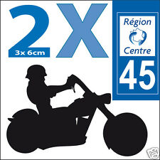 2 stickers autocollants style plaque immatriculation moto Département 45