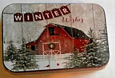 Christmas Gift Card Tin Winter Wishes/Red Barn