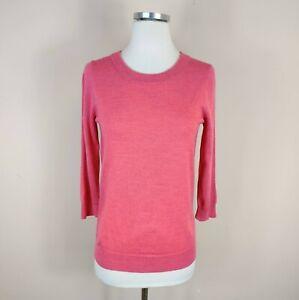 J Crew XS Merino Wool Tippi Sweater Pink Crew Neck 3/4 Sleeve 46725