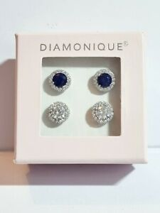 Diamonique Sterling Silver 925 - Set Of 2 - Cluster Earrings In Presentation Box