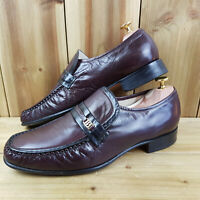 Barker Mens Burgundy Loafer Shoes UK 9 Penny Leather Slip On Dress Shoes Formal