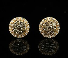 LEVIAN SIGNED NATURAL 5/8ctw CHOCOLATE DIAMOND 14K HONEY GOLD STUD EARRINGS