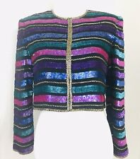 Vintage 80s Glam Sequin Beaded Cropped Silk Jacket Women'S S Blue Purple Pink