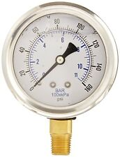 """PIC GAUGE 201L-254F 2-1/2"""" STAINLESS STEEL GLYCERIN 160PSI 1/4NPT BRASS CONNECT"""