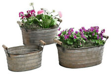 Metal Planter Tubs with Wooden Handles, Set of Three
