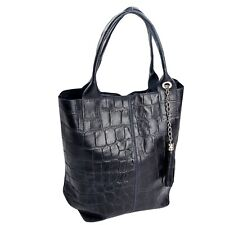 Ital edler Shopper Ledertasche Damentasche echt Leder Alligator Stamp Blau 031KB