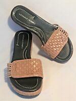 Donald J Pliner Tan Leather Basket Weave Wedge Slip On Sandals Women's Sz 6.5M