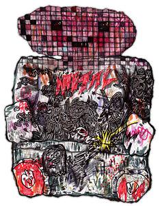 """Original JUSTIN AERNI Drawing circa 2020 art pop surreal : """"DEAD BA01000010"""""""
