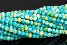 "3MM Green Blue & Yellow Rain Flower Jade Beads Grade AAA Round Loose Beads 15.5"""
