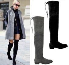 Damen Stiefel Schuhe luxus Overknee 1779 Grau 36