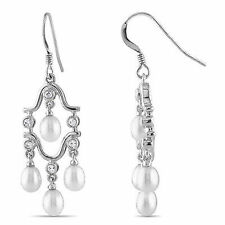& 4-4.5Mm Freshwatter Rice Pearls Silver Chandelier Earrings With 1.5mm Cz