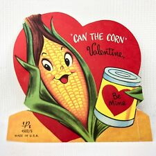 Vtg 40s 50s Valentines Card Can the Corn Ephemera Greeting Agriculture Fram Kid