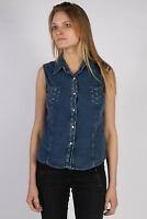 Vintage Jean Paul Sleeveless Designer Denim Blouse Cotton UK Bust:35 Navy SH3118