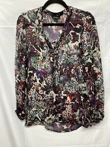 Lucky Womens Size S Black Purple 100% Viscose Tie Front Blouse