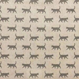 Cat print fabric, Grey cat Design, Linen Look, Craft, 140cm Wide, metre