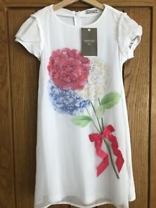 BNWT Mayoral Pretty Summer Dress With Floral Print & Ribbon Detail Age 9 Age 8