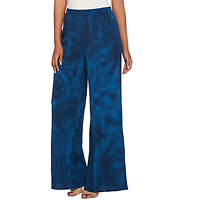 H by Halston Pet Full Length Printed Wide Leg Pants Color Navy Petite Size 12