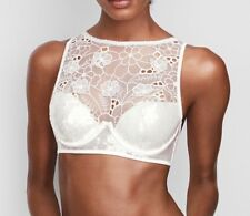 Victoria's Secret Mesh Petals Sequin Lace High Neck Balconet Bra 34DD Ivory