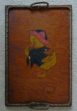 Vintage OOAK Handmade Wooden Tray Painted Sailor Duck w/ Grass Rope Edge 1940's