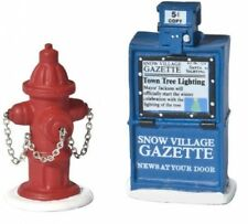 Christmas Village Fire Hydrant and Newspaper Box Accessory Set of 2 Decor