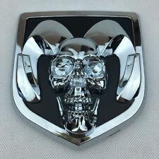 3D OEM Silver RAM Head Skull Rear Tailgate Emblem For Dodge Ram 1500 2500 3500