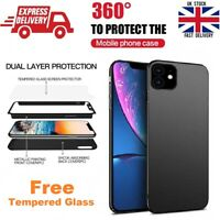 For Apple iPhone 11 Full Body 360° Shockproof Slim Case Cover + Tempered Glass