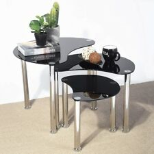 Modern Coffee Table Black Furniture Living Room Contemporary Glass Nesting Set 3