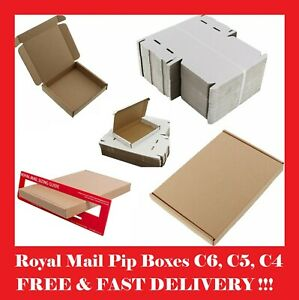 ROYAL MAIL PIP LARGE LETTER CARDBOARD POSTAL BOXES WHITE/BROWN DL C4 C5 C6 C7