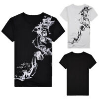 Men Summer Casual Slim Printed Short Sleeve Sport Blouse T-shirt Pullover Top AU