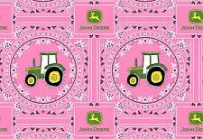 FAT QUARTER FABRIC PINK GIRL JOHN DEERE BANDANA TRACTOR SPRINGS CREATIVE COTTON