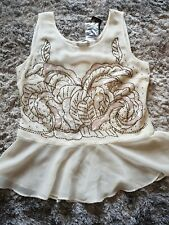 George Ladies Cream Peplum Top Size 12 Party Going out Sequins Sheer