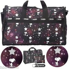 LeSportsac Peanuts Snoopy In The Stars Large Weekender + Cosmetic Bag Free Ship