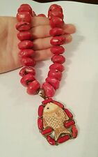 BIG Red Coral and Sterling Silver Fish Pendant Necklace HUGE STATEMENT  HEAVY