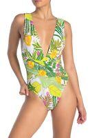 Trina Turk Women's NWT $154 It's Bananas Wrap Front One-Piece Swimsuit