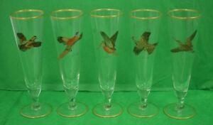 Set of 5 Cyril Gorainoff Gamebird Pilsner Glasses