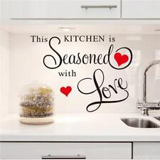 """""""This Kitchen Seasonedwith love"""" Wall Quote Removable Kitchen Sticker Decor B"""
