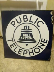 Vintage 1930s Bell System Public Telephone Double Sided Porcelain Sign 18x18