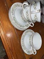 "VIntage Bell Flower Fine China 6 1/4"" Plate Tea Cup Set of 4 Japan 2999"