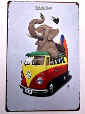 VW ELEPHANT METAL TIN SIGNS vintage cafe pub bar garage decor chic