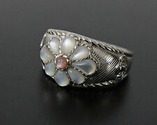 NEW J RIPKA WHITE & PINK CABOCHON MOP GEMSTONE INLAY STERLING SILVER FLOWER RING