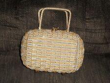 Vintage Gold & White Retro Small Handbag Purse Made In Hong Kong 1950's