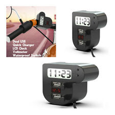 1 x 12V Motorcycle Dual USB Charger LED Voltmeter LCD Clock (3 In 1 )Universal