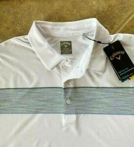 Callaway Opti-Dri Golf Shirt 3X 3XB White wChest Stripe UPF 50 Stretch NWT $93