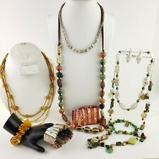 Jewelry Lot Shell Stone Natural Elements Necklace Bracelet Set Earth Tone Yellow