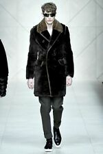 Burberry Prorsum Brown Shearling Fur Coat w/ Leather Trim & Mink Collar IT 48
