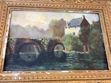 Peinture ancienne huile sur carton  Moulin paysage riviere
