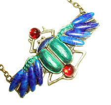 Blue Green SCARAB Necklace BEETLE WINGS Lapis Glass Stones Egyptian Revival